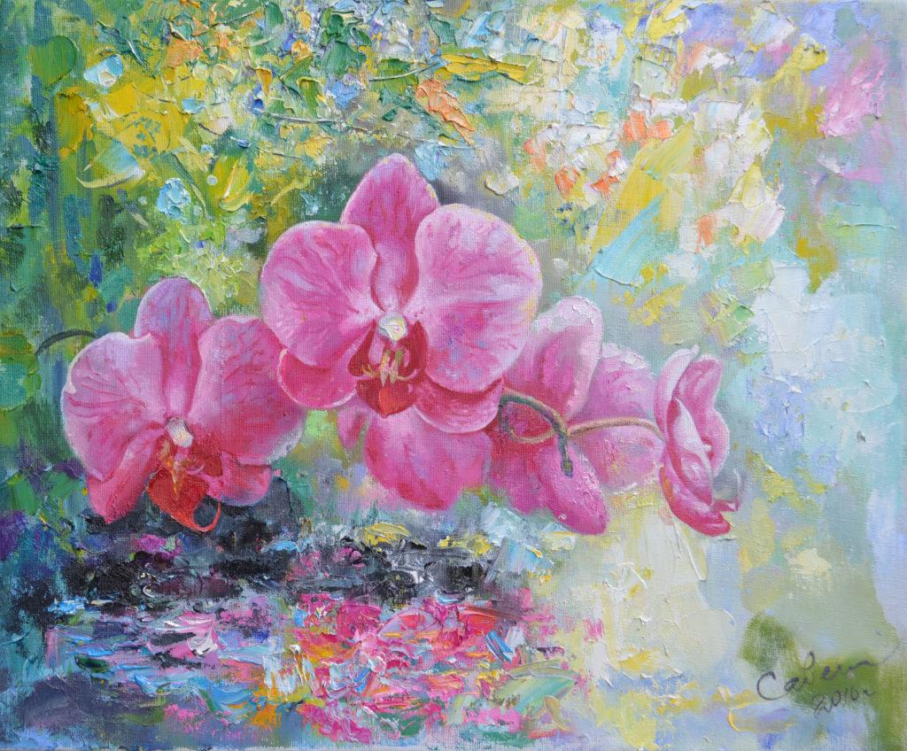 рисуем цветы маслом поэтапно