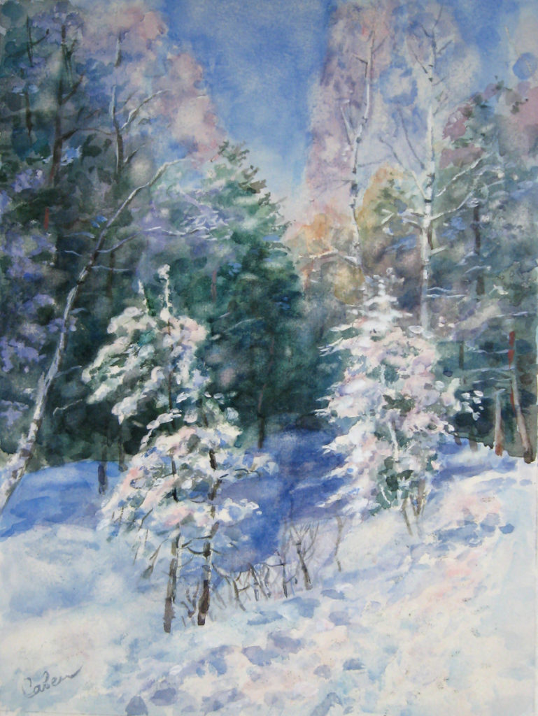 как нарисовать зимний пейзаж акварелью