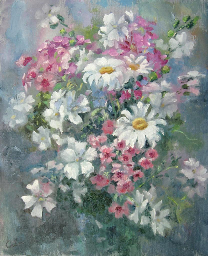 цветы маслом этюды