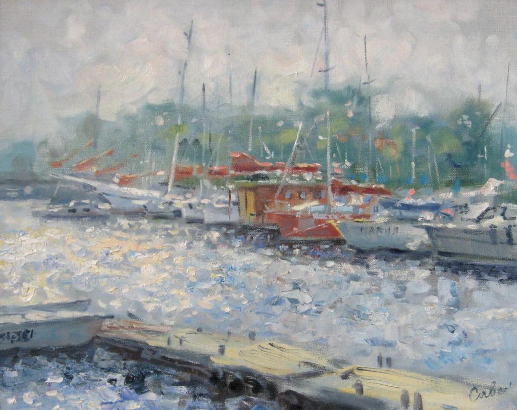 пейзаж с яхтами