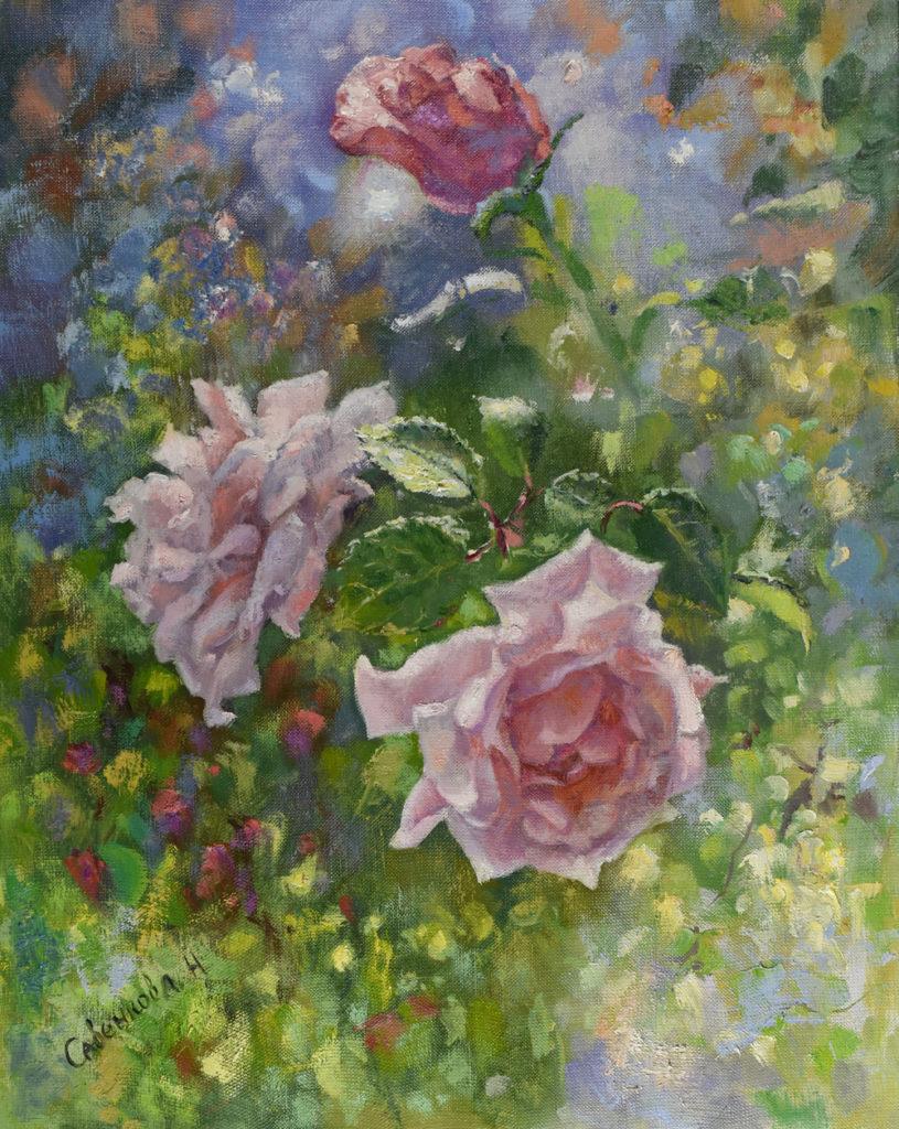 розы в саду живопись