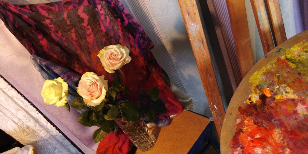 как нарисовать розы маслом поэтапно