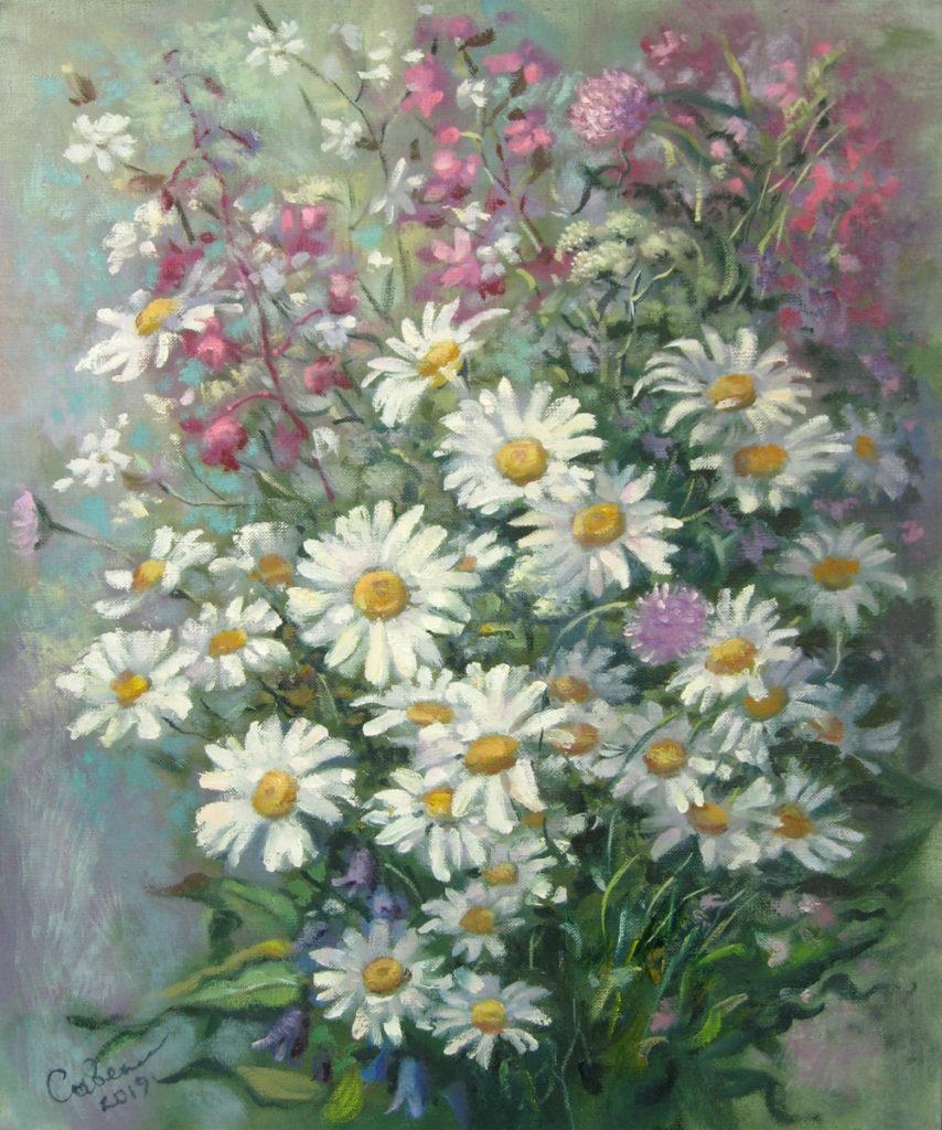 картины маслом цветы ромашки