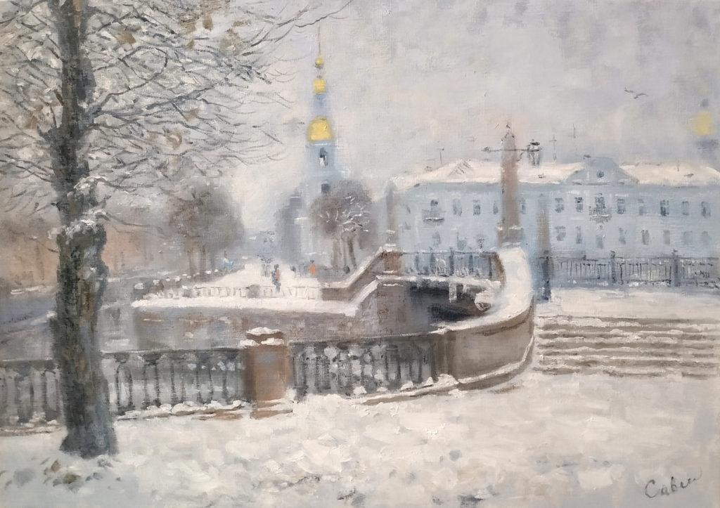 зимний городской пейзаж картина