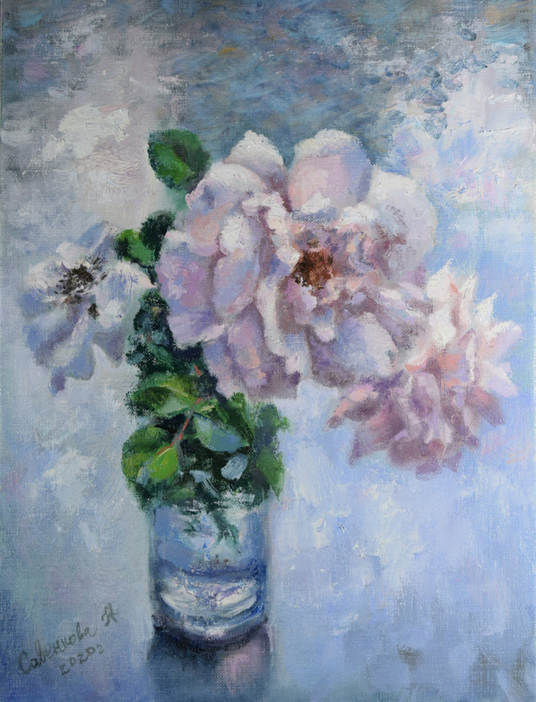 розы живопись маслом картина