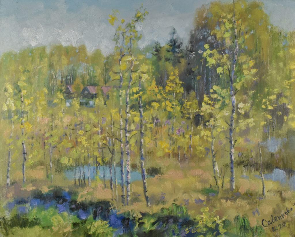 весенний пейзаж холст масло