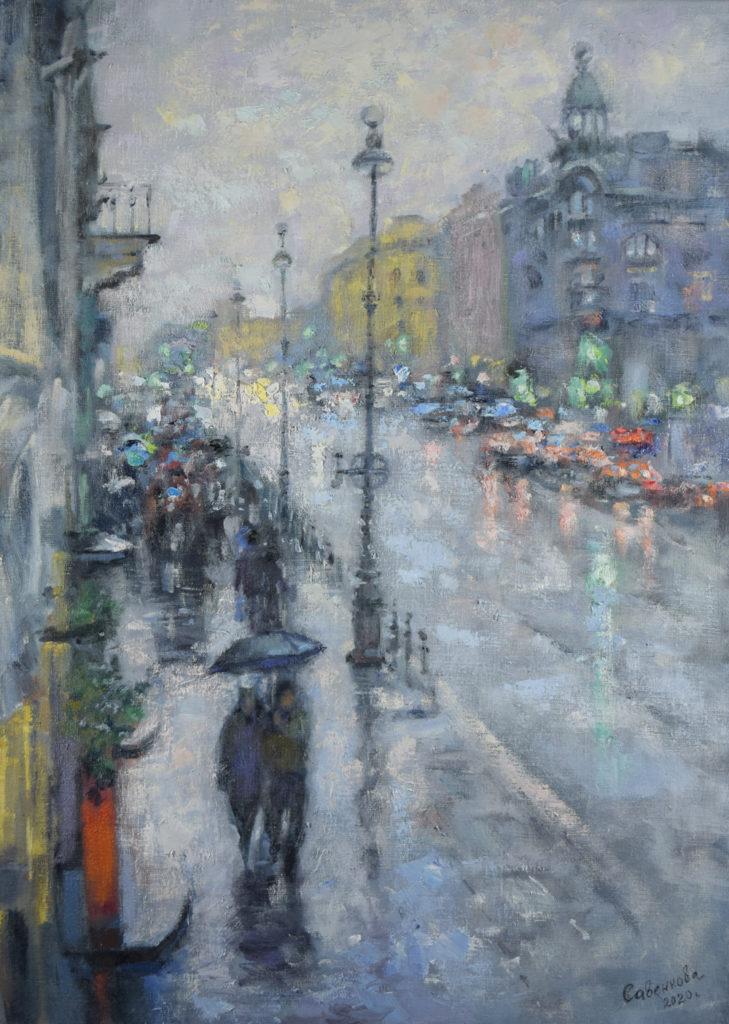 Дождливый Петербург зимой
